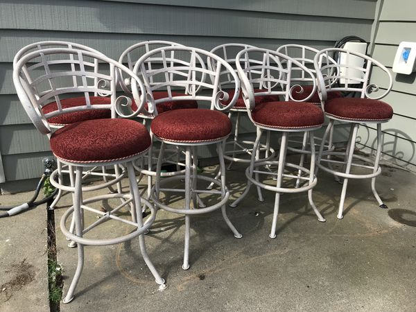 Bar stools, 8, swivel upholstered seats