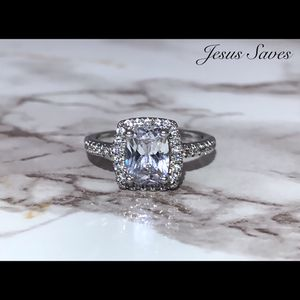 Silver Plated Radiant Cut CZ Ring Size 5 for Sale in Fresno, CA