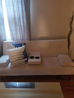 All White Beautiful White Futon With Built In Cup Holders for Sale in Redford Charter Township,  MI