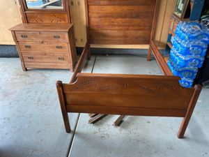 Beautiful hand carved antique bed and dresser set for Sale in Dublin, CA