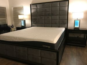 4 Pcs E. king Gray modern bedroom set with Memory foam Mattress•Sameday Delivery 🚚 • 90 days 0% financing available•✅ for Sale in Las Vegas, NV