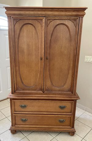 Large Oak Armoire with sliding trays for Sale in La Mirada, CA