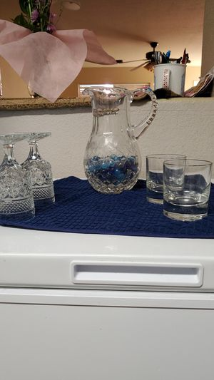Chrystal pitcher with brandy glasses for Sale in Peoria, AZ