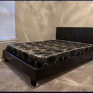 BRAND NEW ! black leather queen size platform bed with mattress for Sale in Richardson, TX