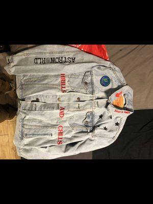 Astroworld Travis Scott denim jacket size large (supreme Louis Vuitton off white bape for Sale in Riverside, CA