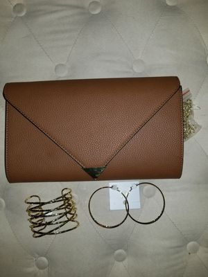 Brown clutch, gold bracelet & hoops for Sale in San Diego, CA