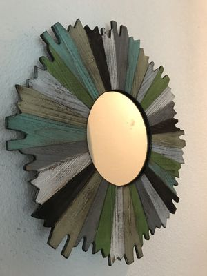 Would with mirrored center wall art or wall mirror 15 inches for Sale in Visalia, CA