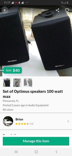 Set of Optimus speakers 100 watt max for Sale in Pensacola, FL