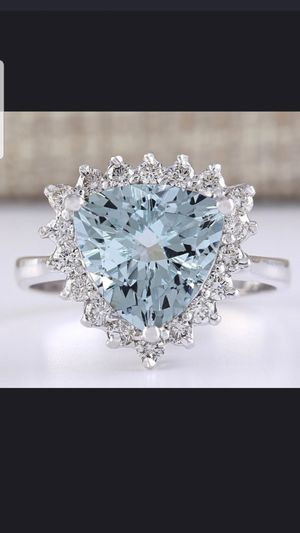 Sterling silver aquamarine and white sapphire ring size 8 for Sale in Dundalk, MD