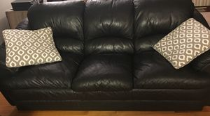 Two black leather sofas with storage shelves. Sofas are in new condition and come from smoke free and pet free home. $300 for the set. for Sale in East Providence, RI