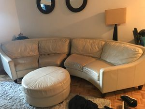 White leather C-shaped couches and ottoman for Sale in New York, NY