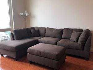 Brand New Brown Linen Sectional Sofa Couch + Ottoman for Sale in Arlington, VA