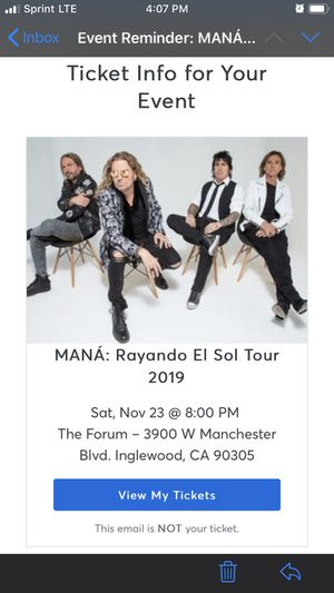 Mana Tickets for Sale in Bell, CA