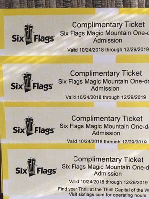 🎢🍿🥤🥨SIX FLAGS MAGIC MOUNTAIN ⛰ (4) TICKETS 🎟🎟🎟🎟 🍭🍧🍨🍦$50 EACH PRICE FIRM for Sale in Los Angeles, CA