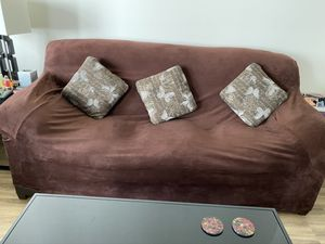 Leather couch w/ cover & pillows for Sale in Los Angeles, CA