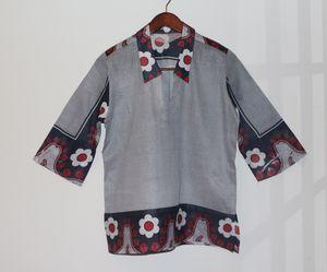 African Kanga Shirt - stripped flowers for Sale in Washington, DC