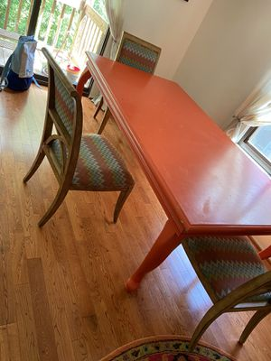 Big ass solid wood farmhouse style table 3 chairs for Sale in Moorestown, NJ