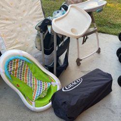 Bed, High Chair, Play Pen, Bath Tub for Sale in Wimauma,  FL