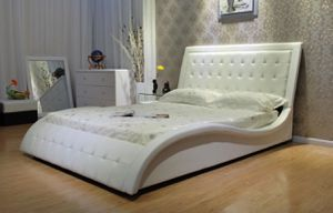 (Brand New In Boxes) Queen Size White Tuft Leather Bed Frame for Sale in Atlanta, GA