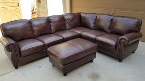 100% Leather Sectional with Ottoman for Sale in Chandler, AZ