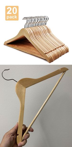 New in box 20 Pack Premium Wooden Hangers Natural Finish Glossy Shine Utopia Home Hangers for Sale in Covina, CA