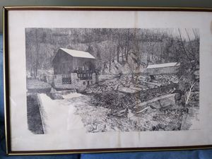 Etching of McConnells Mill. With certificate. for Sale in Pittsburgh, PA