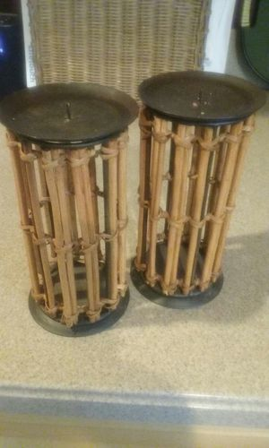 2 bamboo candle holders. for Sale in Woodbury, NJ