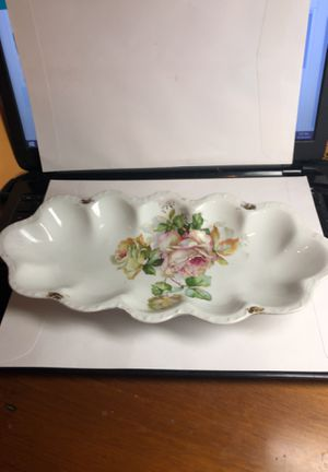 "Vintage/Antique Hand Painted Flower China Serving Dish from Estate 12"" Long for Sale in Berlin, NJ"