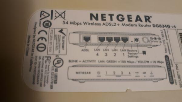 Netgear 54Mbps Wireless ADSL2+ Modem Router