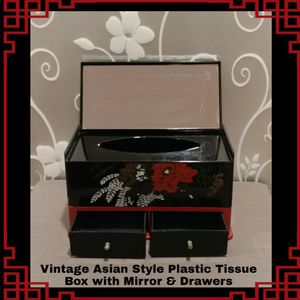 VINTAGE ASIAN STYLE PLASTIC TISSUE BOX WITH MIRROR & DRAWERS for Sale in Ontario, CA