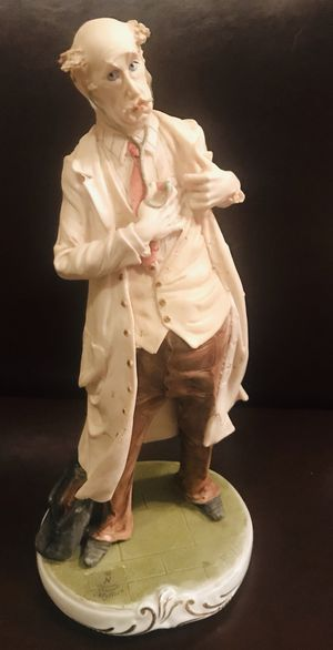 """Capodimonti Visconti Moldova """"Physician Heal Thyself"""" in figure doctor checking own heart, whimsical porcelain figure 12"""" / 5"""" tall for Sale in Vienna, VA"""
