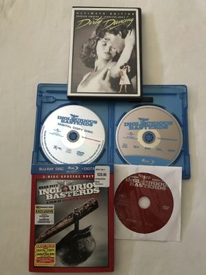"""Blu-Ray+DVD 3 Disc Set """"Inglorious Basterds"""" & DVD 2 Disc Set """"Dirty Dancing Discs Like New $5 Each for Sale in Reedley, CA"""