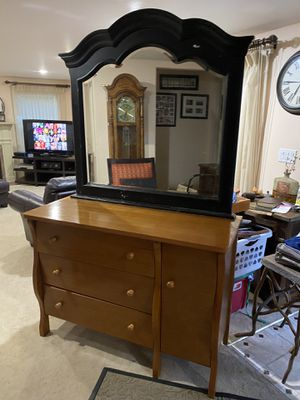 Nice dresser with cabinet attached mirror just needs paint to match for Sale in Gresham, OR