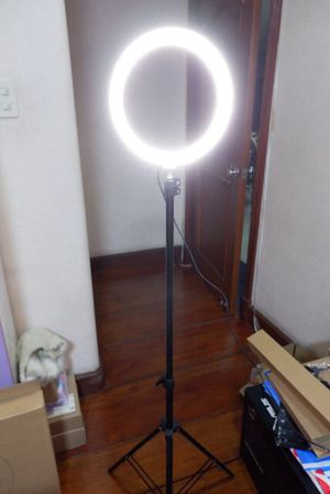 New in box 10 inches Ring LED Light Warm and Cold 3000 to 6500K USB with Adjustable Tripod 59 inches tall and Controller Video Maker Phone Camera Hol for Sale in Los Angeles, CA