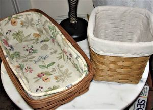 "2 Longaberger Baskets .. Vintage 1989 Bread Basket with cloth liner measures 14.75"" x 7.75"" x 3.5"" this is 31 years old and 2011 Cube Tissue with clo for Sale in Bristol, PA"