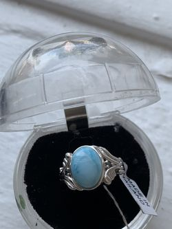 $New with tags Sterling Silver Larimar stone size 9 3/4 Statement ring Beautiful color Easy contactless pick up near Clark/Montrose Zelle Venmo a for Sale in Chicago,  IL