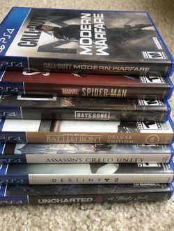 7 PS4 games, Uncharted 4, Modern Warfare, Days Gone, Destiny 2, Spider-Man, Battlefront, Assassins Creed Unity for Sale in Willoughby,  OH