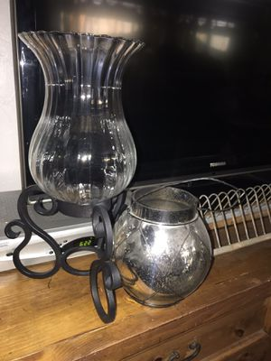 Set of 2 Pier 1 imports candle holders Mercury glass for Sale in Santee, CA