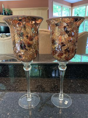 Table decor set of 2 matching modern gold copper glass candle holders for Sale in Dublin, OH