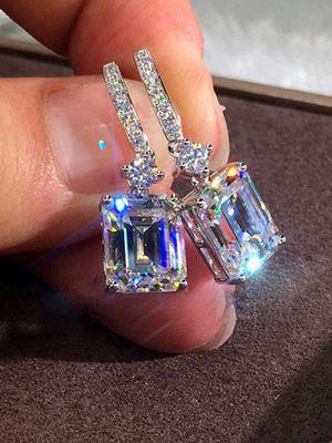 8 Carat Radiant Cut Silver Diamond Drop Earrings for Sale in Waxahachie, TX