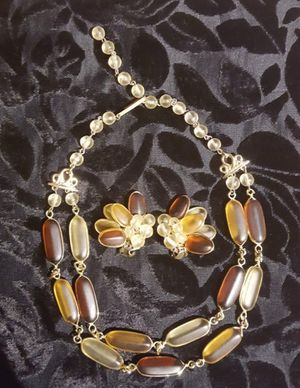 c1940-50 Unique Frosted Amber & Glass Beaded Choker Necklace & clip-on earring set ~ West Germany for Sale in Tacoma, WA