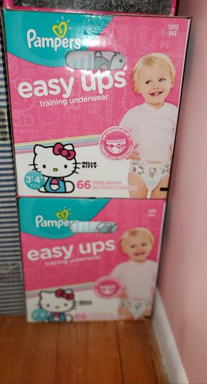 Pampers Easy Ups training pants Hello Kitty design Size 3T/4T (30-40 pounds) 66 Easy Ups per box 2 boxes avaliable $20 each for Sale in Newtown, CT