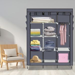 Closet Organizer Storage Rack Portable Clothes w/ Side Shoe Bag GRAY for Sale in Ontario, CA