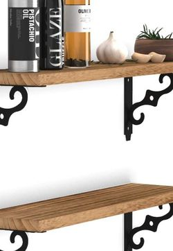 Natural Burned Wood Wall Decor Storage Shelf Set Of 2 for Sale in Los Angeles,  CA