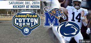 """""""Cotton Bowl Tickets"""" Memphis vs Penn St for Sale in Arlington, TX"""
