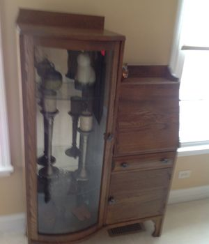 Oak curio writing desk for Sale in Glen Ellyn, IL