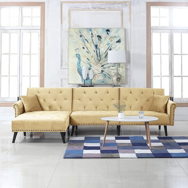 Divano Roma Furniture Middle Century Modern Style Velvet Sleeper Futon Sofa, Living Room L Shape Sectional Couch with Reclining Backrest and Chaise Lo