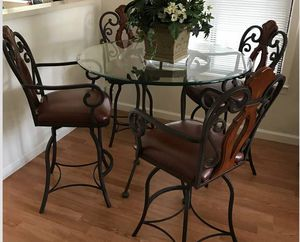 Dining , Kitchen Table Set Glass Table /4 designer counter height barstools for Sale in Mountain View, CA