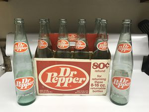 8 pk Dr Pepper antique bottles & box for Sale in Rancho Cucamonga, CA