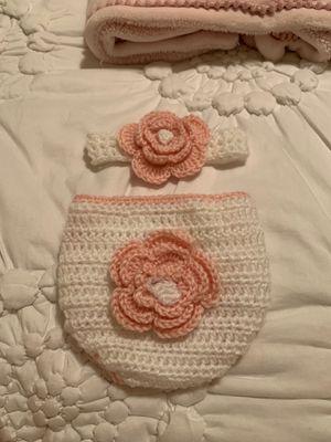 Newborn Baby Girl Diaper and Headband for Sale in Niles, IL